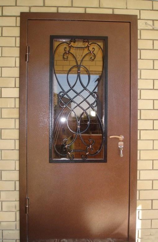 стальная входная дверь со стеклопакетом