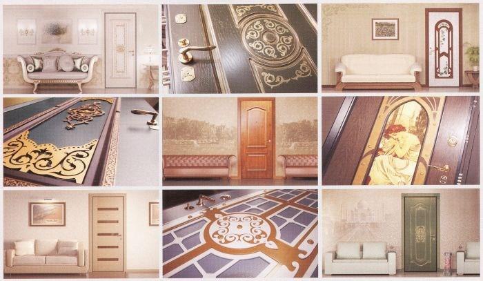 Для наружной отделки металлических дверей используются самые разнообразные материалы: натуральное дерево и ламинат, МДФ и винилскожа