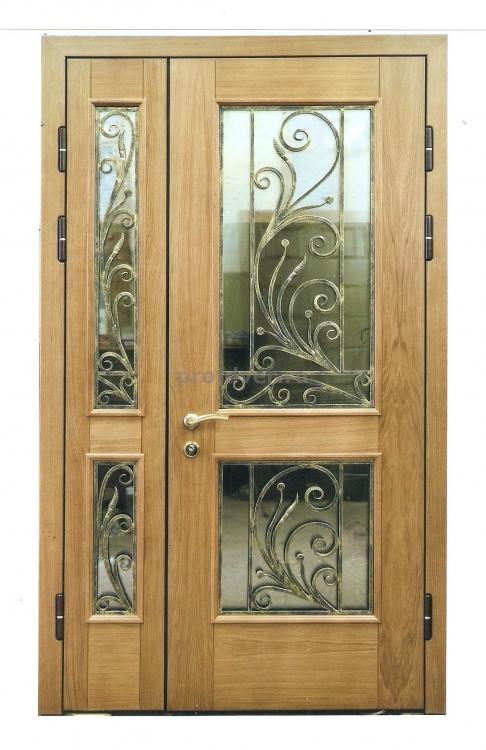 двери металлические двухстворчатые со стеклом и ковкой