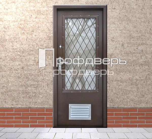 стальные двери с решеткой для котельной