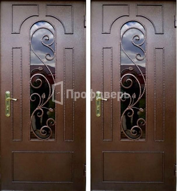 входные металлические двери со стеклопакетом с узором