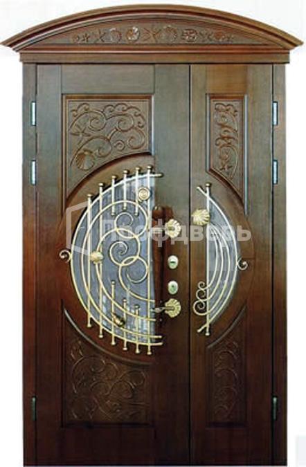 металлические парадные двери с ковкой и стеклом
