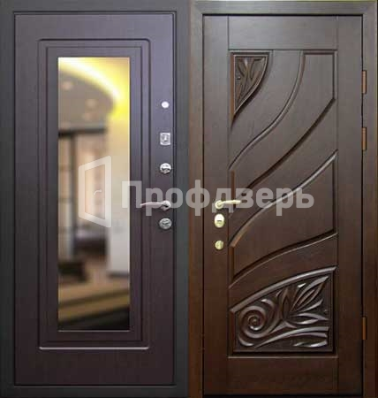металлические двери с зеркалом черноголовка