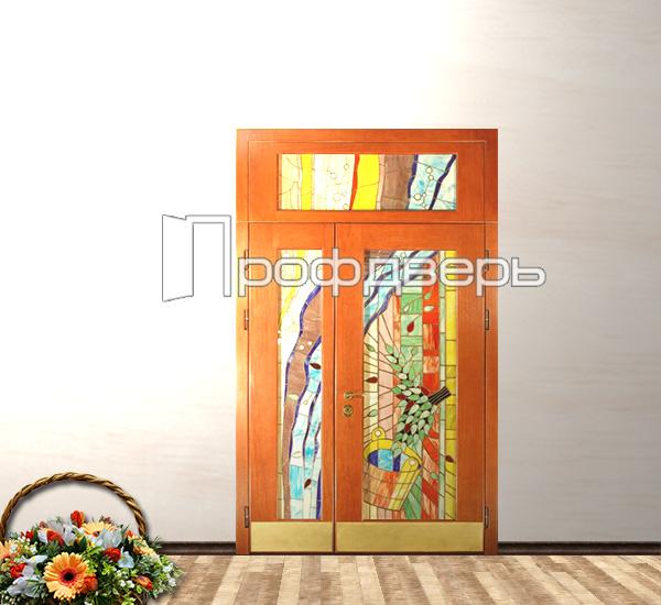 двери стальные двустворчатые с витражом под заказ
