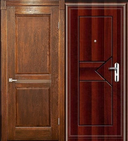филенчатые двустворчатые входные двери на дачу